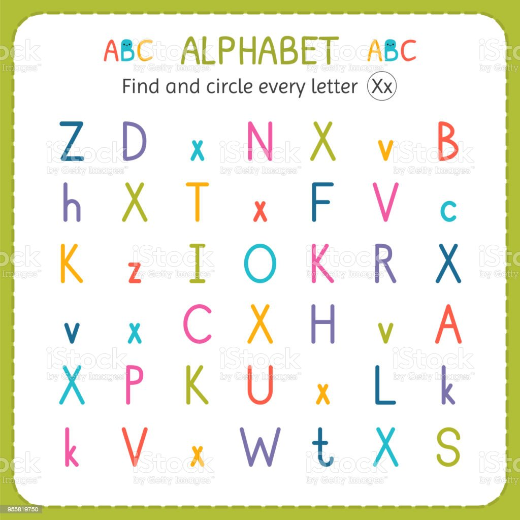 Find And Circle Every Letter X Worksheet For Kindergarten And ...