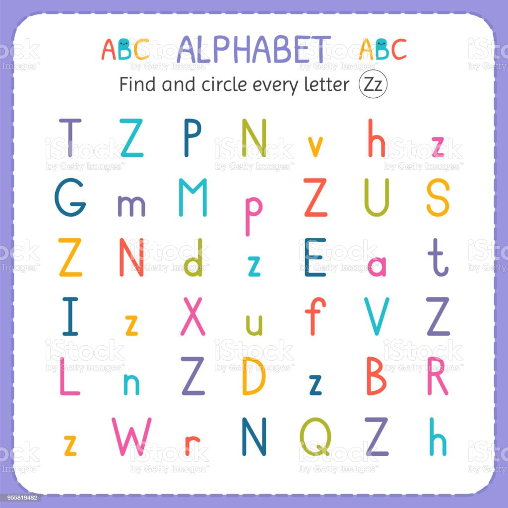 Find And Circle Every Letter Z. Worksheet For Kindergarten And Preschool.  Exercises For Children