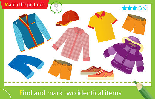 Find and mark two identical items. Puzzle for kids. Matching game, education game for children. Color images of male clothing. Tee shirt, shorts, shirt, jeans, sneakers and baseball cap. Worksheet for preschoolers