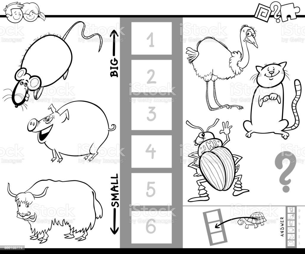 find biggest animal color book game vector art illustration