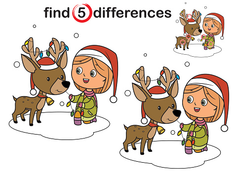 Find differences, Christmas girl and reindeer