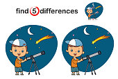 istock Find differences, Cute Boy Watching through Telescope 1311772346