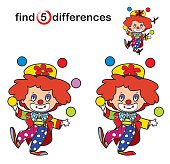 Find differences. cute clown