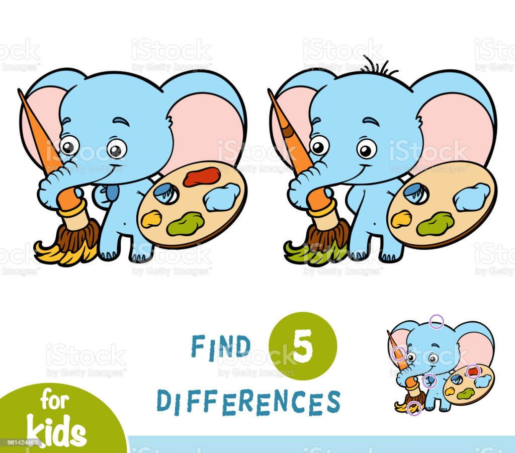Find differences, education game, Elephant vector art illustration