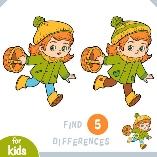 bildbanksillustrationer, clip art samt tecknat material och ikoner med hitta skillnader, utbildningsspel för barn, cartoon liten flicka med en korg för svamp - höst plocka svamp