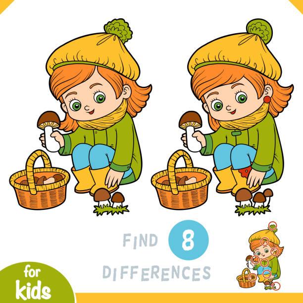 bildbanksillustrationer, clip art samt tecknat material och ikoner med hitta skillnader, utbildning spel för barn, söt liten flicka samlar svamp i en korg - höst plocka svamp