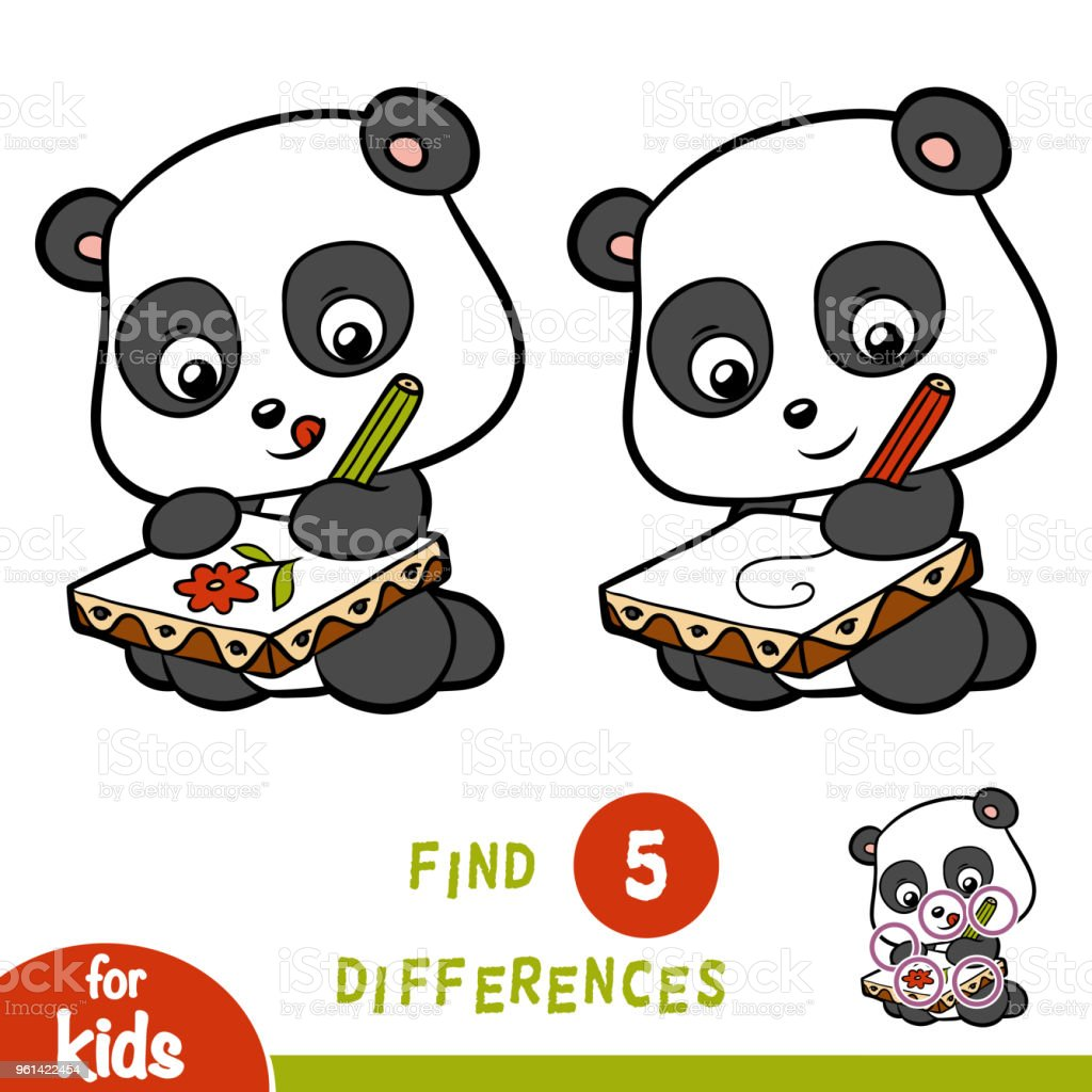 Find differences, education game, Panda vector art illustration