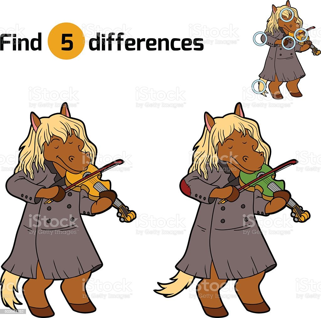 Find differences, game for children (horse and violin) vector art illustration