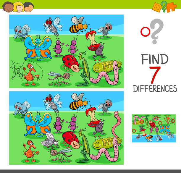 find differences game with insect animals vector art illustration