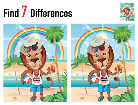 Find differences game with Lion and Beach