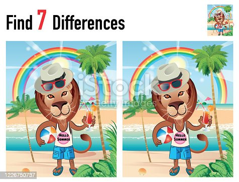 istock Find differences game with Lion and Beach 1226750737