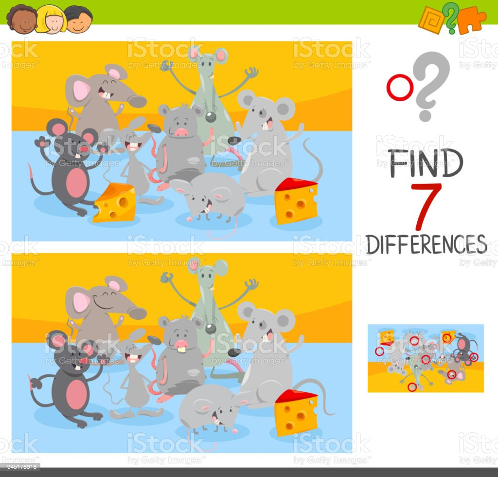 find differences game with mice animal characters stock vector art
