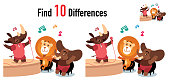 istock Find differences game with Rhino, lion and Elephant 1226749734