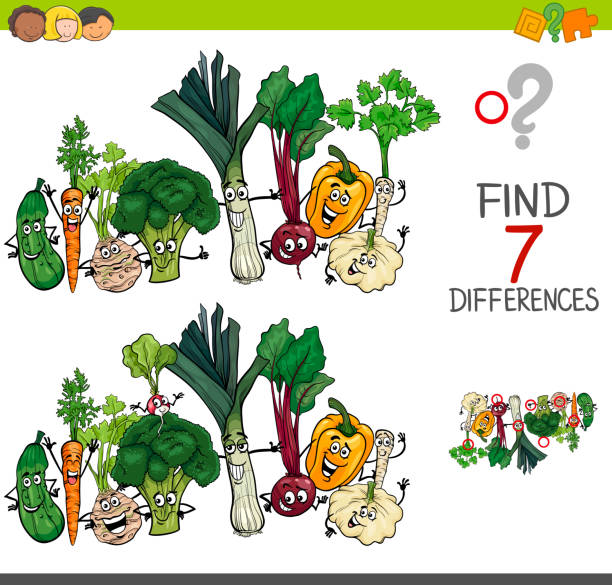find differences game with vegetables characters - office party stock illustrations, clip art, cartoons, & icons