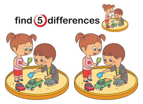 Find differences, Happy children play in the sandbox