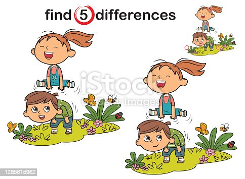 Vector Find differences. Kids Playing Leapfrog on White Background