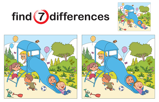 Find differences, Kids playing together outside on the playground