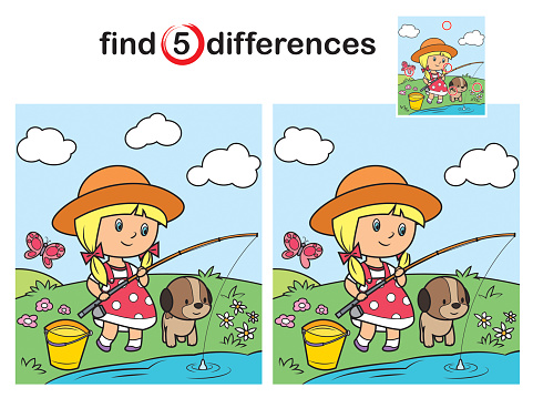 Find differences, little girl fishing