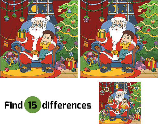 bildbanksillustrationer, clip art samt tecknat material och ikoner med find differences: santa claus gives a gift a little boy - working from home
