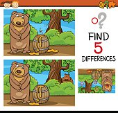 Cartoon Illustration of Finding Differences Educational Task for Preschool Children with Bear and Honey