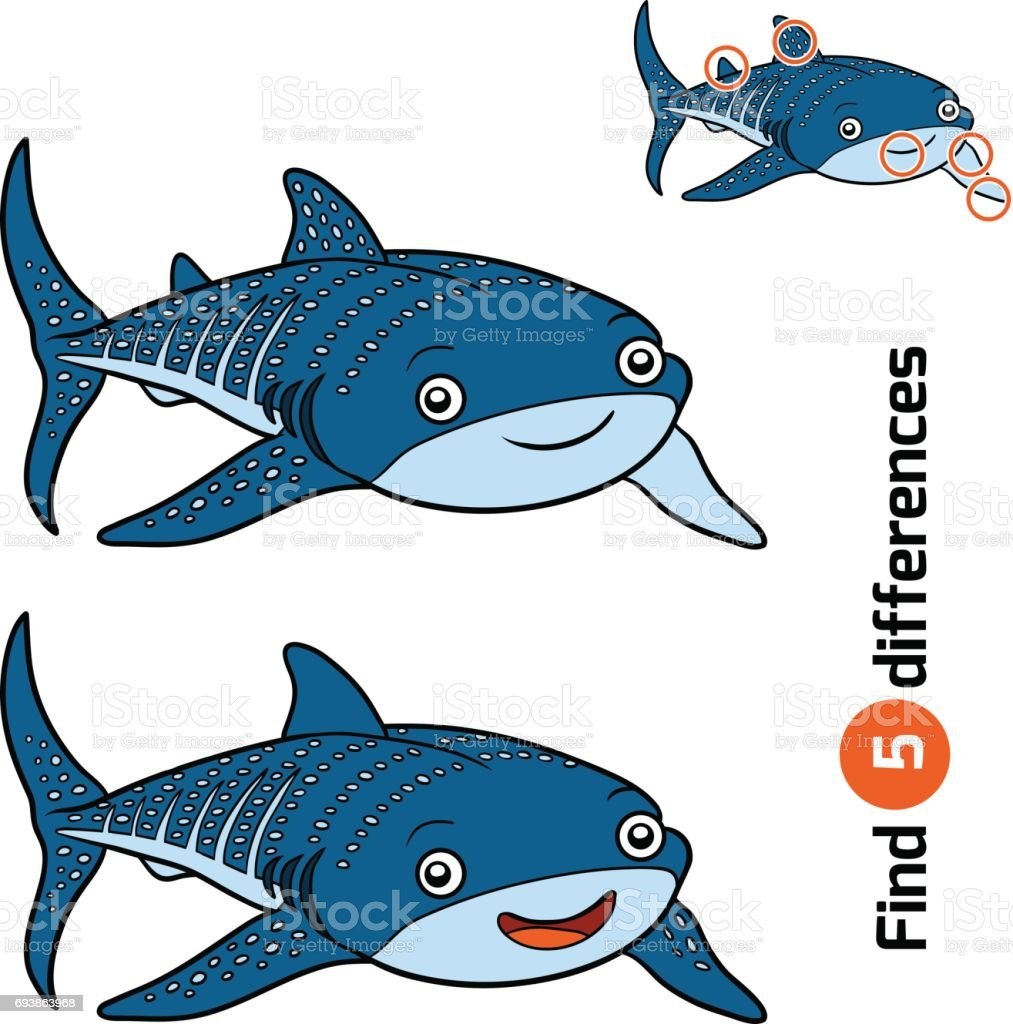 Find differences, Whale shark vector art illustration