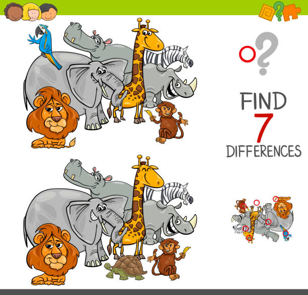 find differences with safari animals characters vector art illustration