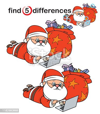 istock Find differences-Santa Claus with a laptop 1182660868