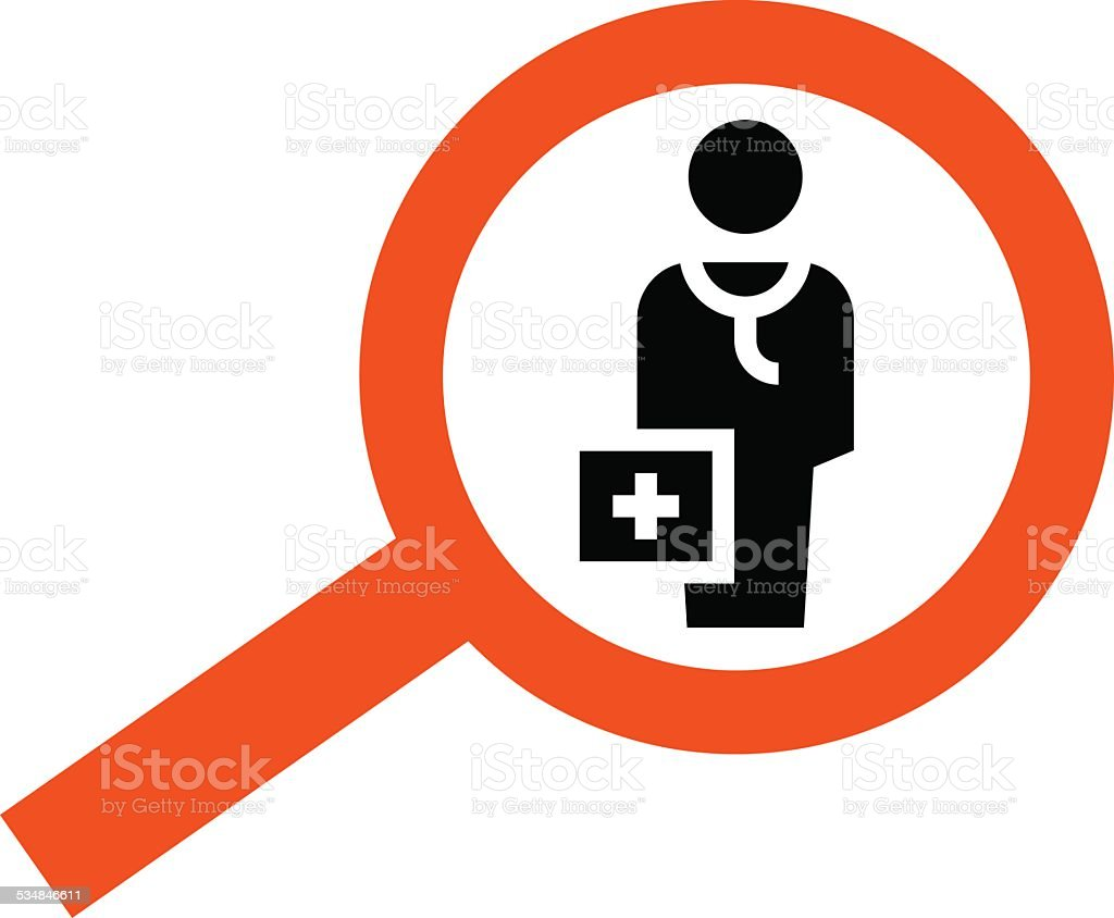 Find doctor icon vector art illustration