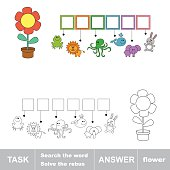 FLOWER. Find hidden word. Task and answer