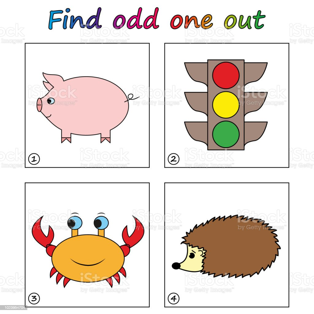 Find Odd One Out Game For Kids Worksheet Visual Educational Game For