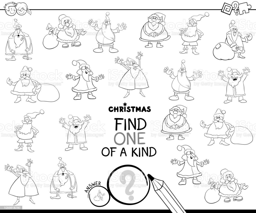 Find One Of A Kind Santa Claus Color Book Stock Vector Art More