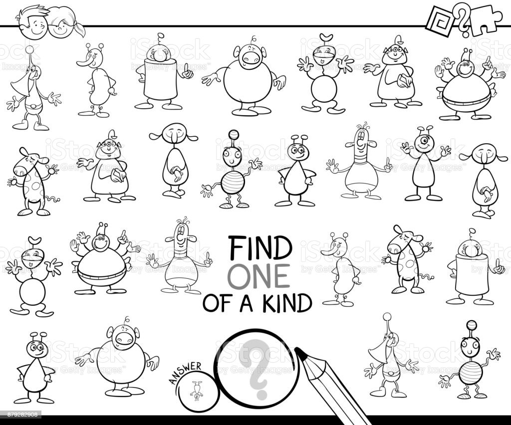 Find One Of A Kind With Aliens Color Book Stock Vector Art More