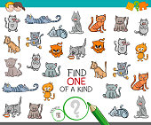 Cartoon Illustration of Find One of a Kind Picture Educational Activity Game for Kids with Cats or Kittens Animal Characters
