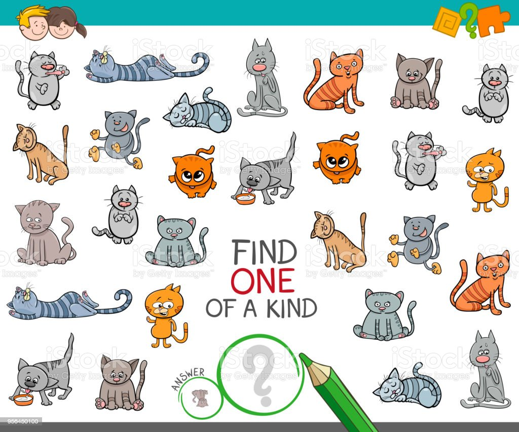 find one of a kind with cat animal character vector art illustration