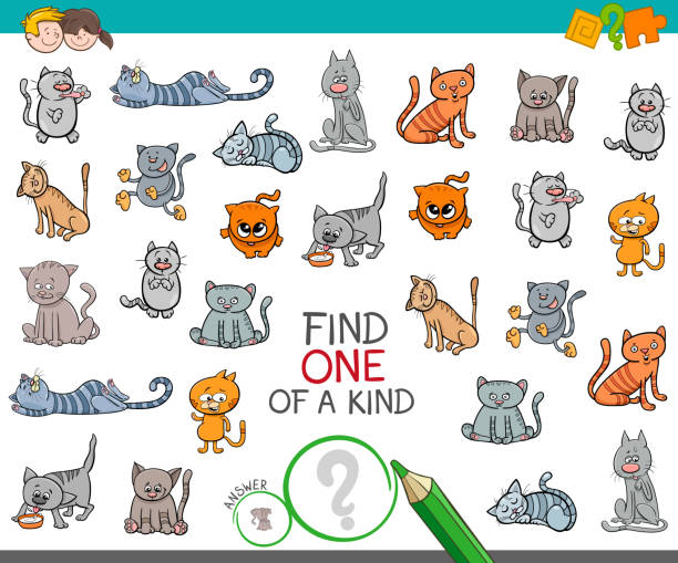 find one of a kind with cat animal character - office party stock illustrations, clip art, cartoons, & icons