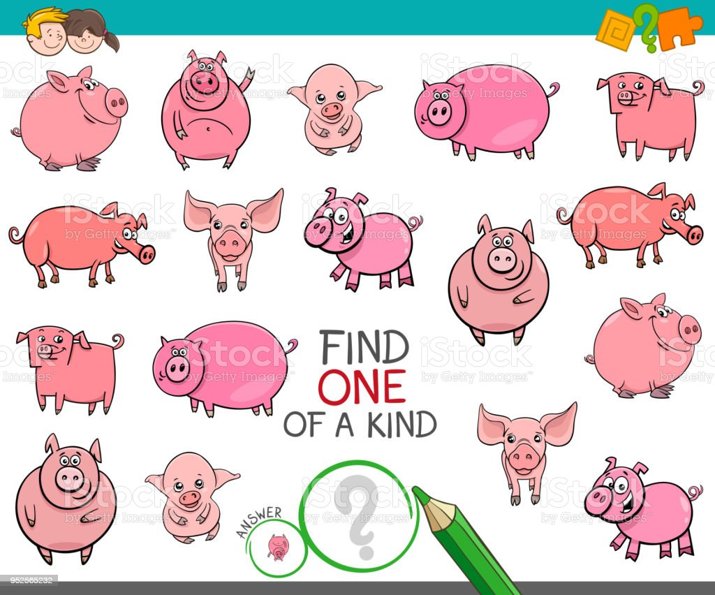 find one of a kind with funny pig characters stock vector art more