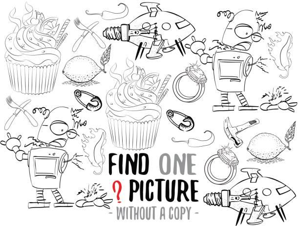 suchen sie ein bild lernspiel - schulbedarfskuchen stock-grafiken, -clipart, -cartoons und -symbole