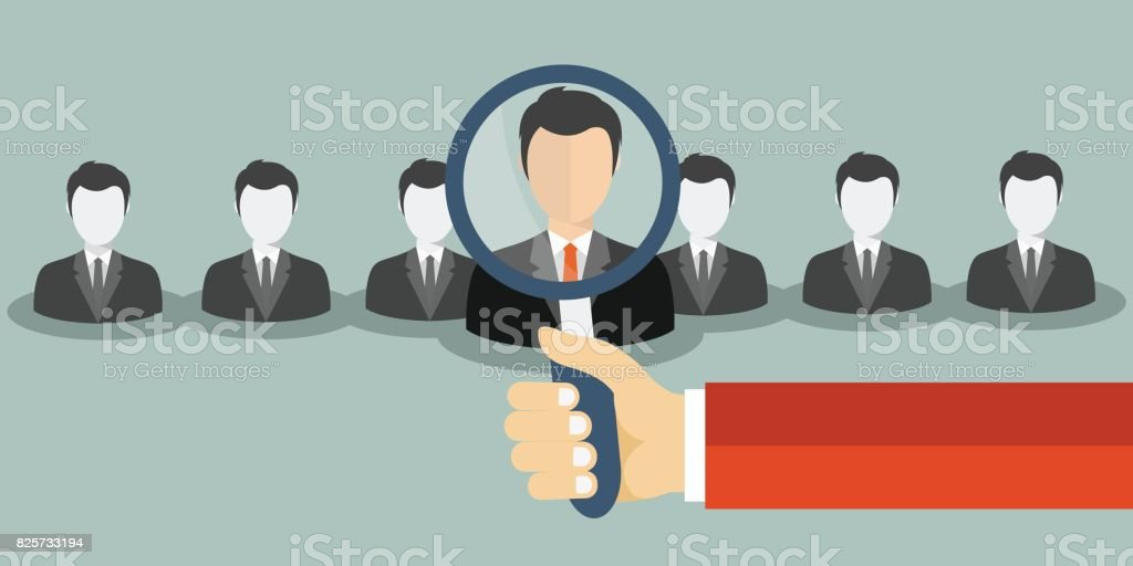 Find person for job opportunity. Flat vector illustration. vector art illustration