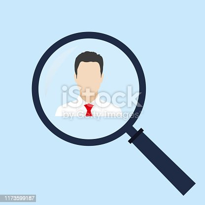 istock Find person icon. Human resources and recruitment symbol. HR looking for worker with magnifying glass. Customer target concept with magnifier and man icon inside. Vector illustration. 1173599187