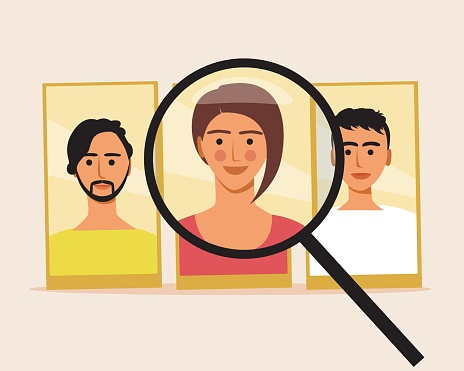 Find person online, flat vector stock illustration, Find people via internet, Phone and magnifying glass, magnifier