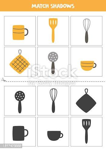 Encontre sombras de utensílios de cozinha. Cartões para crianças.