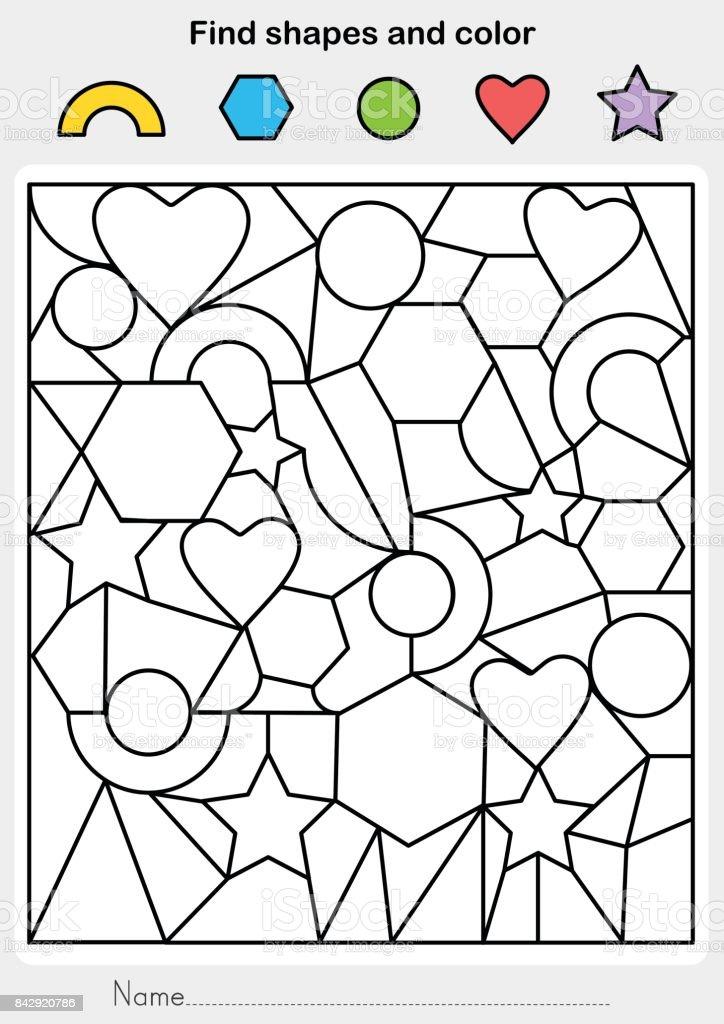 Ilustración de Encontrar Formas Y Color Hoja De Trabajo Para La ...
