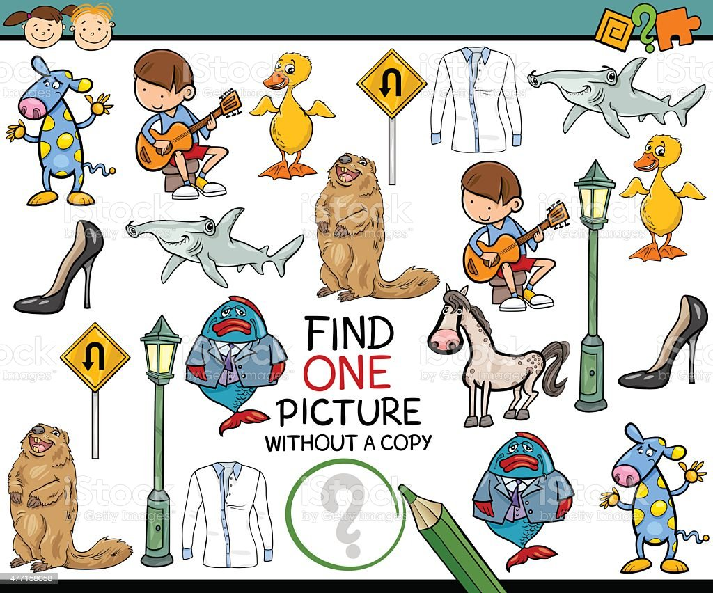 find single picture game cartoon vector art illustration
