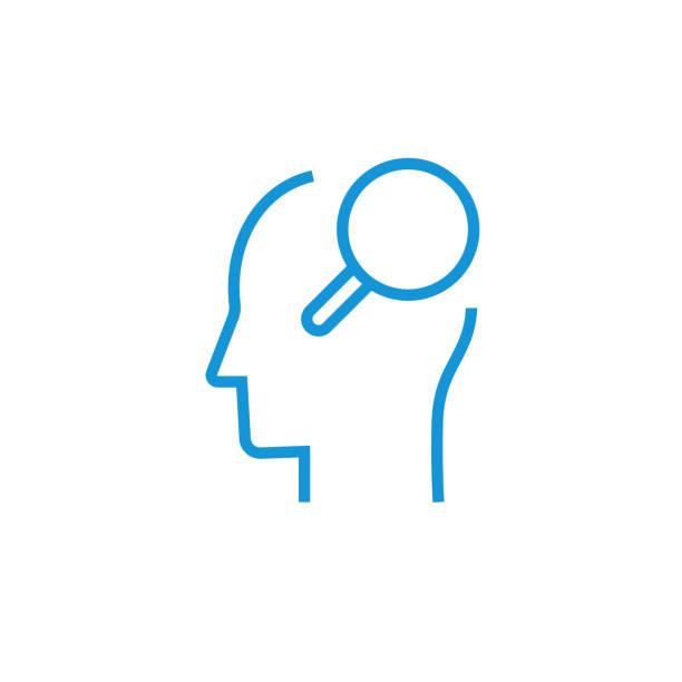 bildbanksillustrationer, clip art samt tecknat material och ikoner med hitta lösningen ikon konceptet. att hitta idé ikonen - brain magnifying