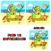 Find ten differences educational game for children. Vector colorful learning activity with crocodile on the beach.
