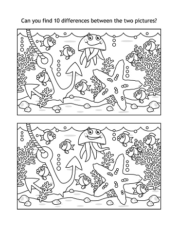 Find ten differences picture puzzle and coloring page, sea life, black and white
