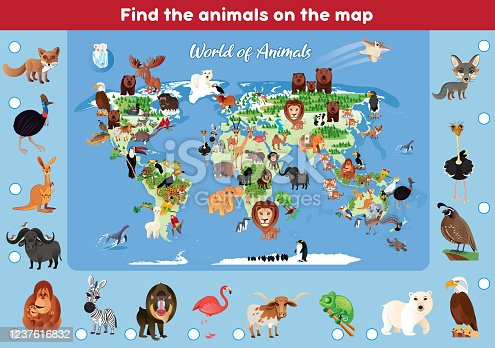 Vector Find the animals on the map