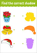 Find the correct shadow. Christmas theme. Education developing worksheet. Matching game for kids. Color activity page. Puzzle for children. Cute character. Vector illustration. Cartoon style.