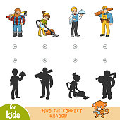 Find the correct shadow, education game for children. Cartoon set of professions - Cleaner, Waiter, Lumberjack, Builder