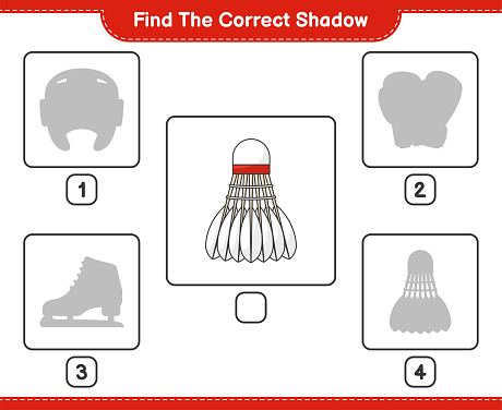 Find the correct shadow. Find and match the correct shadow of Shuttlecock. Educational children game, printable worksheet, vector illustration